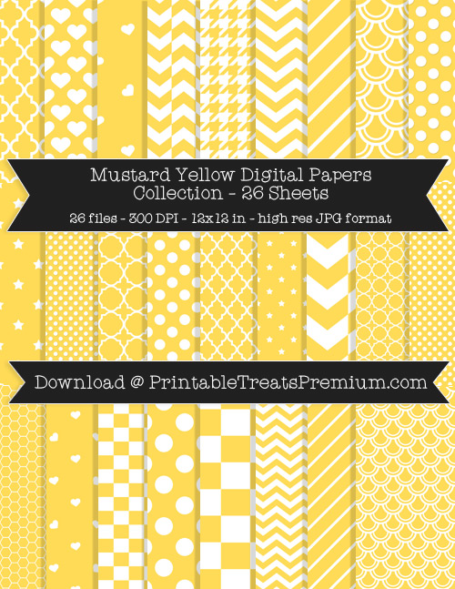 26 Mustard Yellow Digital Papers Collection