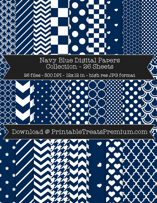 26 Navy Blue Digital Papers Collection