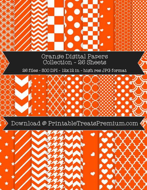 26 Orange Digital Papers Collection