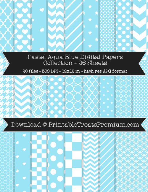 26 Pastel Aqua Blue Digital Papers Collection