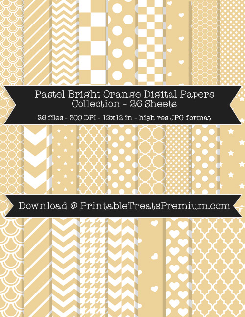 26 Pastel Bright Orange Digital Papers Collection