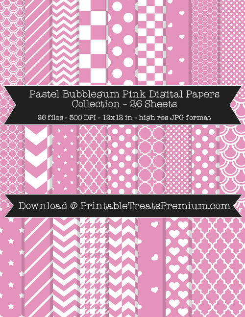 26 Pastel Bubblegum Pink Digital Papers Collection