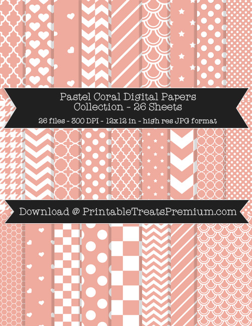 26 Pastel Coral Digital Papers Collection