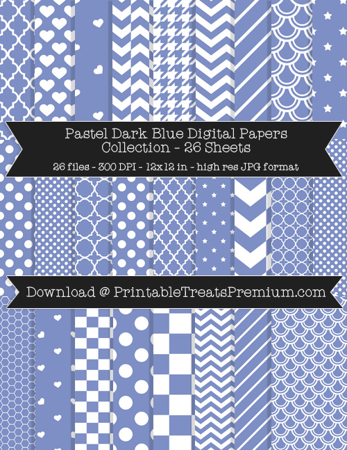 26 Pastel Dark Blue Digital Papers Collection