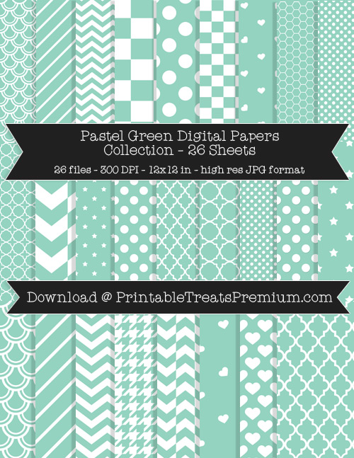 26 Pastel Green Digital Papers Collection