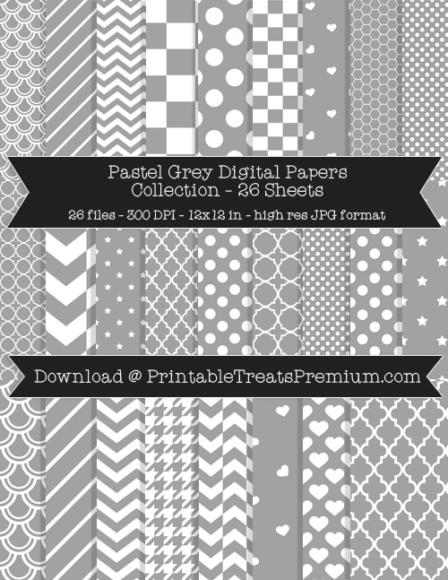 26 Pastel Grey Digital Papers Collection
