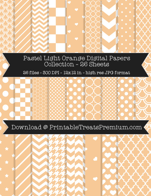 26 Pastel Light Orange Digital Papers Collection