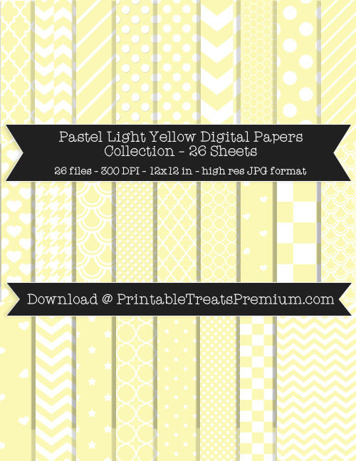 26 Pastel Light Yellow Digital Papers Collection