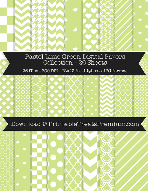 26 Pastel Lime Green Digital Papers Collection
