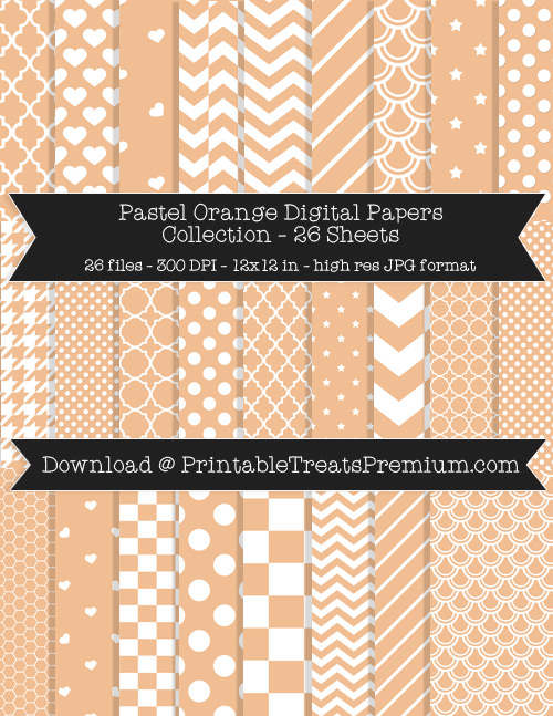 26 Pastel Orange Digital Papers Collection