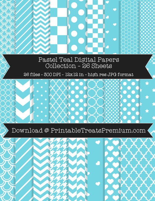 26 Pastel Teal Digital Papers Collection