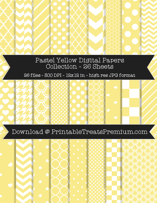 26 Pastel Yellow Digital Papers Collection