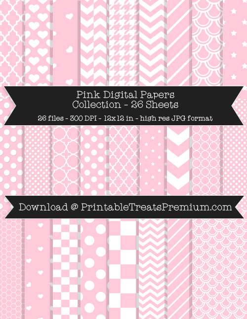 26 Pink Digital Papers Collection