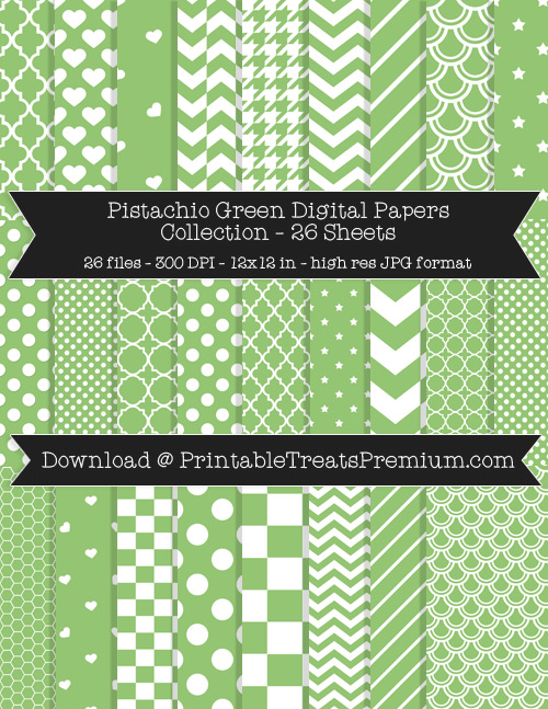 26 Pistachio Green Digital Papers Collection