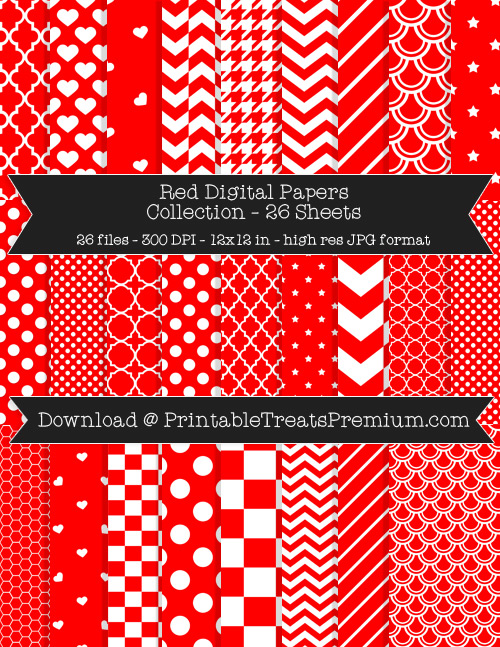 26 Red Digital Papers Collection