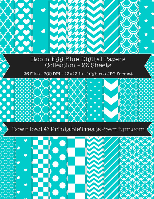 26 Robin Egg Blue Digital Papers Collection