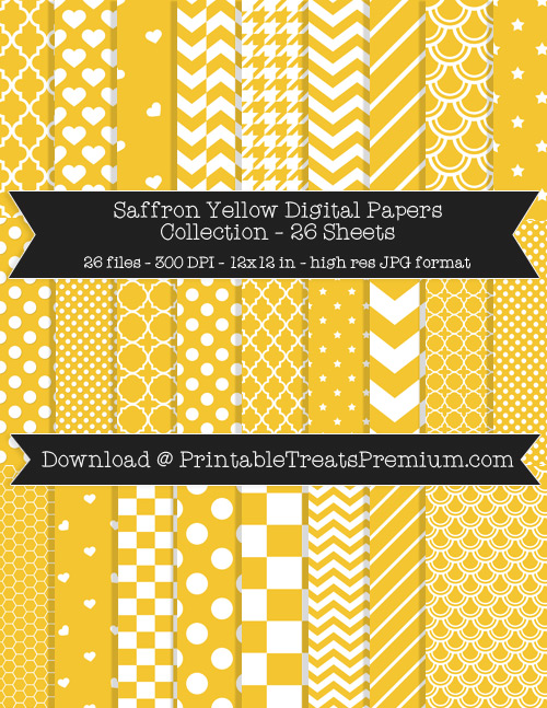 26 Saffron Yellow Digital Papers Collection