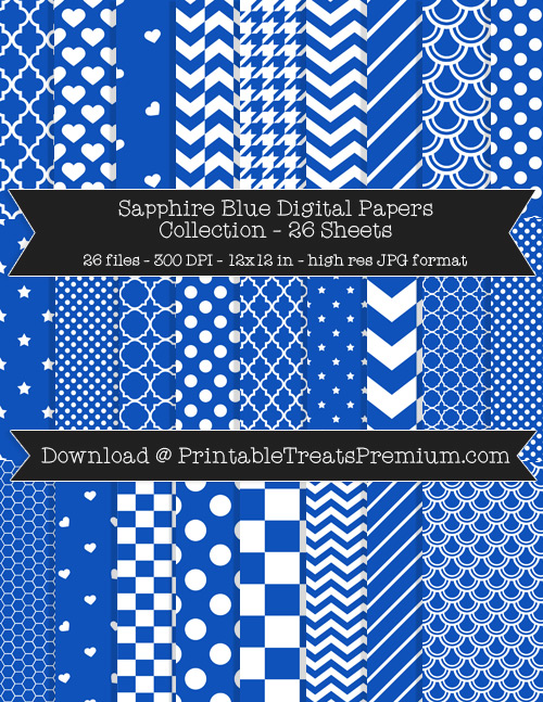 26 Sapphire Blue Digital Papers Collection