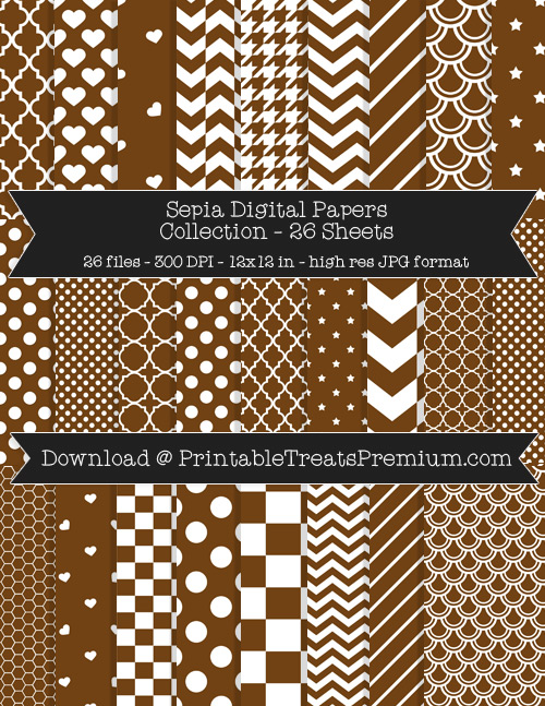 26 Sepia Digital Papers Collection