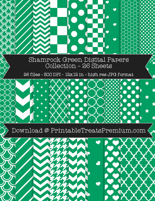 26 Shamrock Green Digital Papers Collection