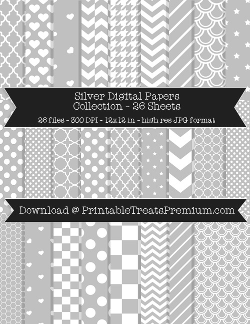 26 Silver Digital Papers Collection