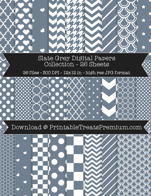 26 Slate Grey Digital Papers Collection