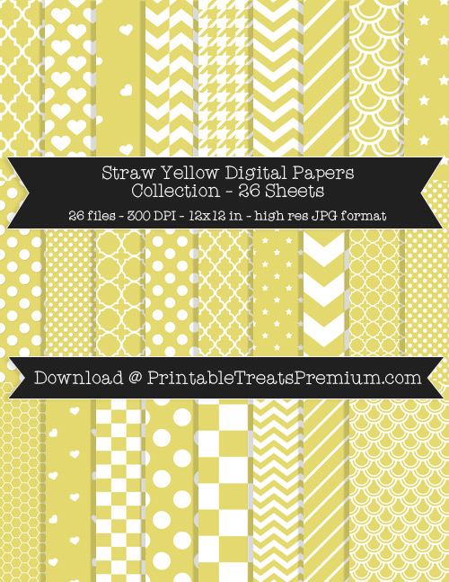 26 Straw Yellow Digital Papers Collection