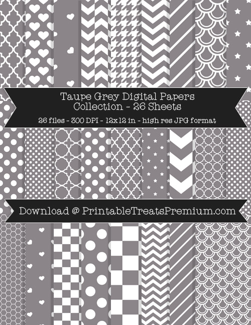 26 Taupe Grey Digital Papers Collection