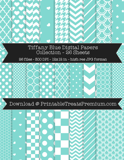 26 Tiffany Blue Digital Papers Collection