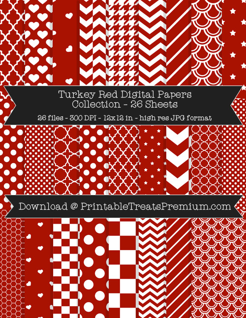 26 Turkey Red Digital Papers Collection