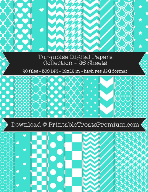 26 Turquoise Digital Papers Collection