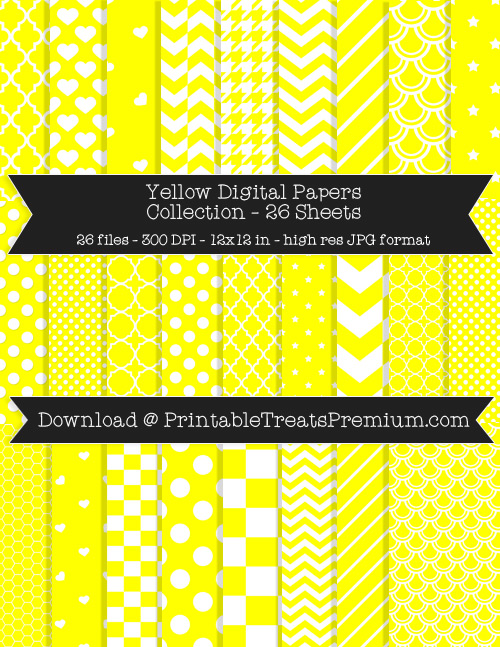 26 Yellow Digital Papers Collection