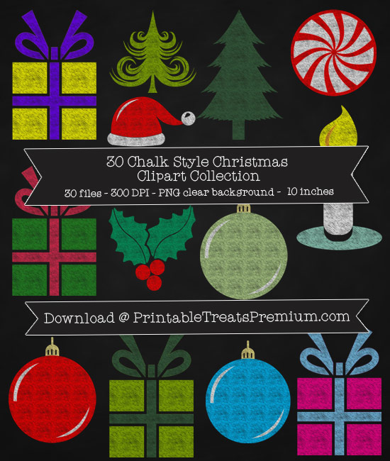 30 Chalk Style Christmas Clipart Collection