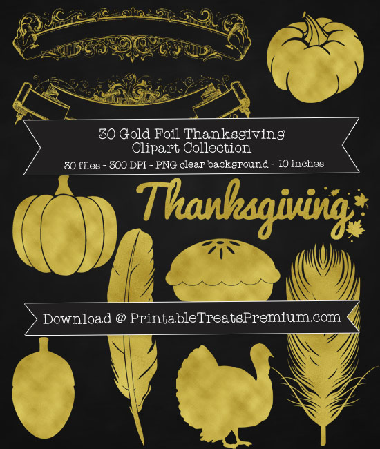 30 Gold Foil Thanksgiving Clipart Collection