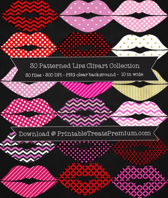 30 Patterned Lips Clipart Collection
