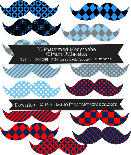 30 Patterned Moustache Clipart Collection