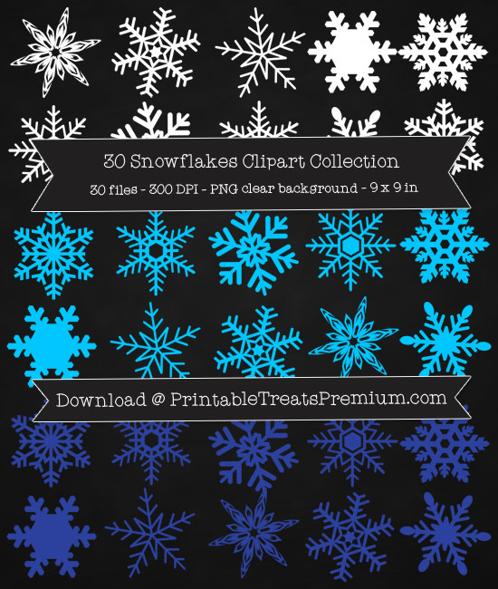 30 Snowflakes Clipart Collection