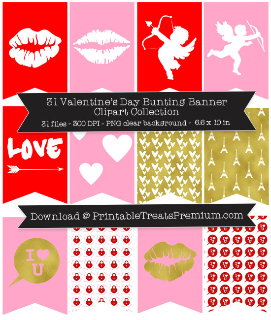 Valentine's Day Bunting Banner Clipart Pack