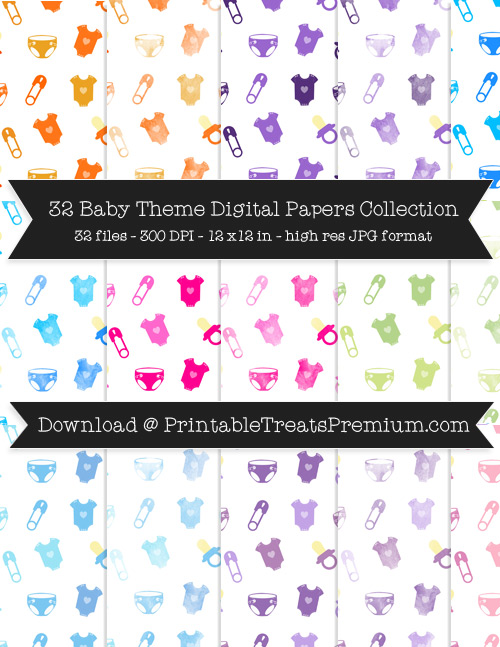 Baby Theme Digital Paper Pack for Scrapbooking, Baby Showers