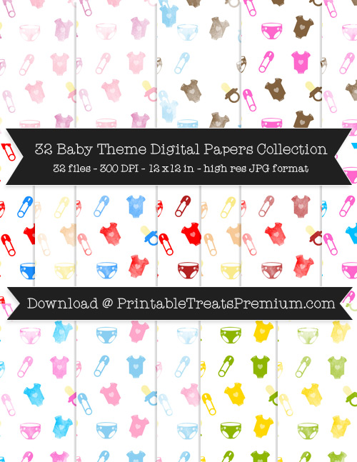 32 Baby Theme Digital Papers Collection