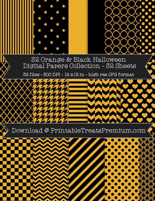 32 Orange and Black Halloween Digital Papers Collection