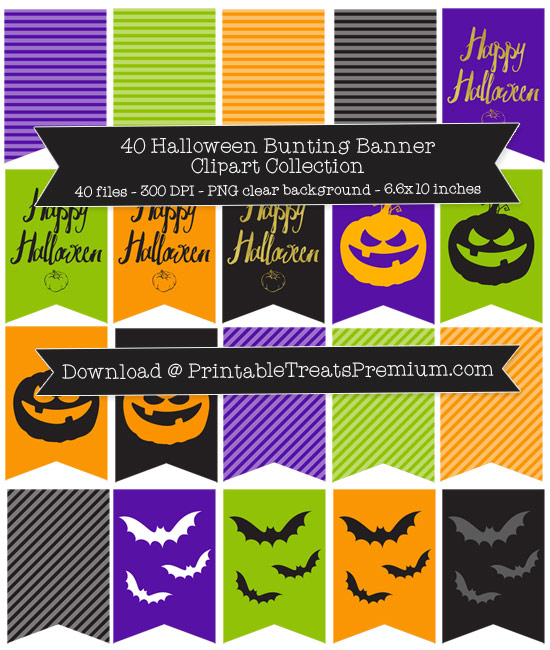 40 Halloween Bunting Banner Clipart Collection