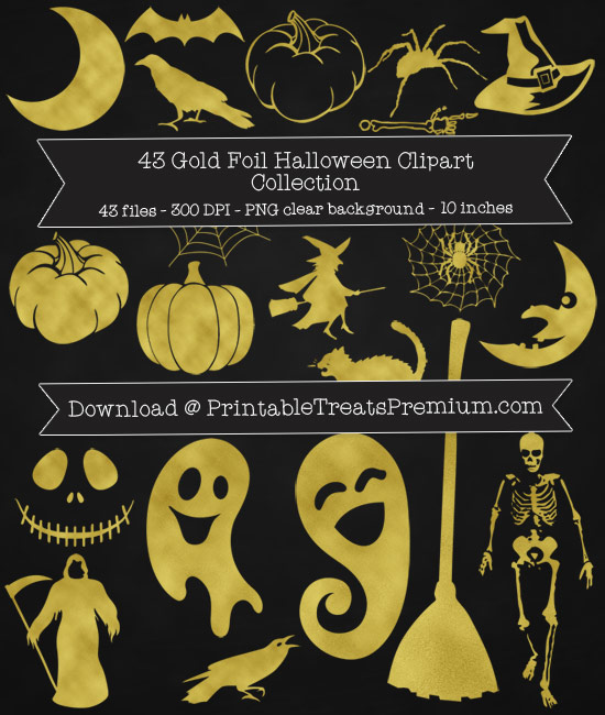 43 Gold Foil Halloween Clipart Collection
