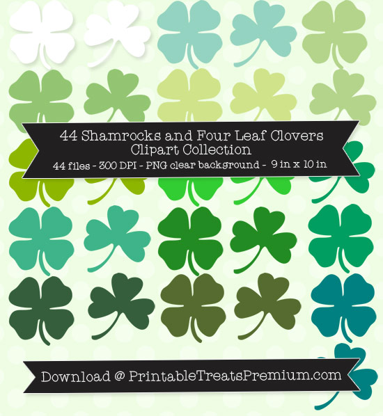 44 Shamrocks and Four Leaf Clovers Clipart Collection