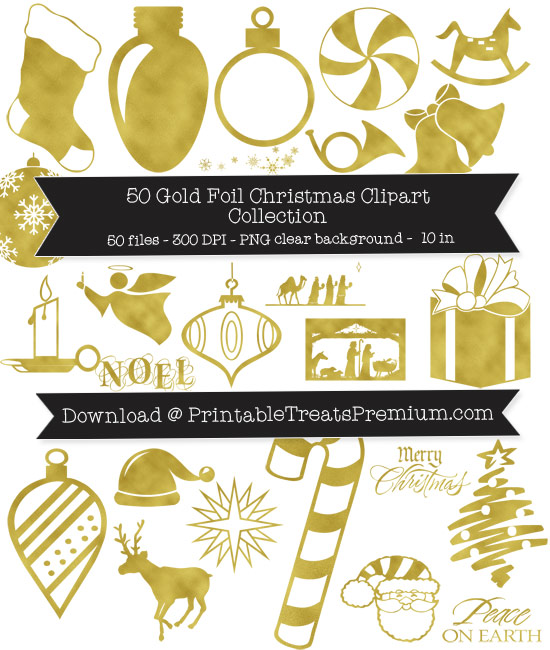 50 Gold Foil Christmas Clipart Collection