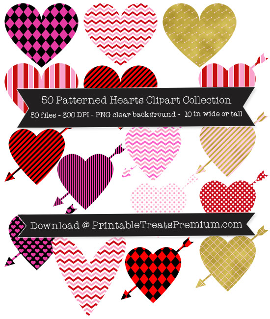 Patterned Hearts Clip Art Pack