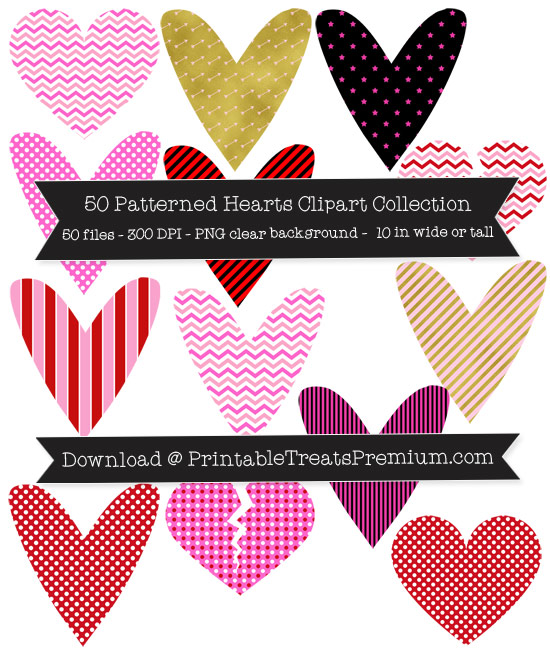 50 Patterned Hearts Clipart Collection