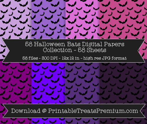 58 Halloween Bats Digital Papers Collection