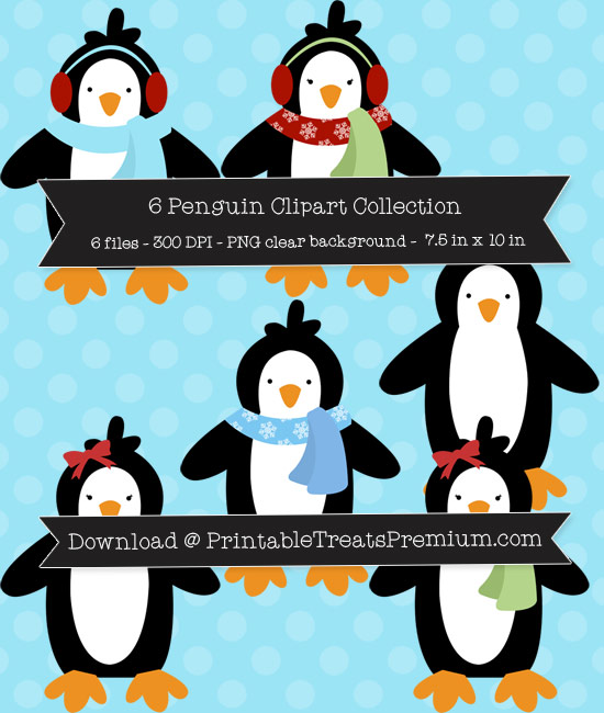 6 Penguin Clipart Collection