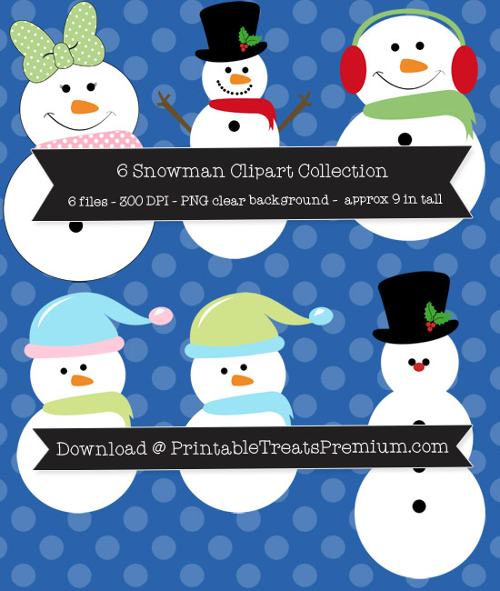 6 Snowman Clipart Collection